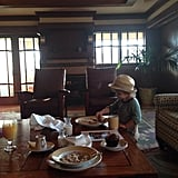 Arthur Bleick enjoyed a big breakfast in his suite at Disneyland. Source: Twitter user SelmaBlair