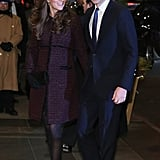 Kate Paired Her Deep Plum Seraphine Coat With All-Black Accessories