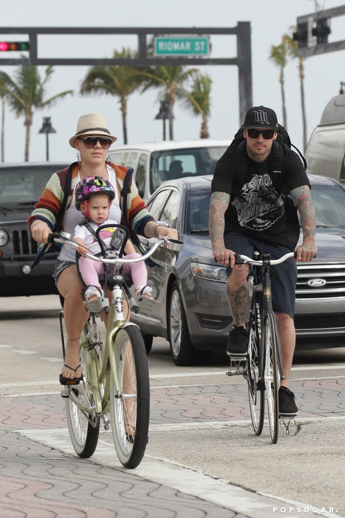 Bikini-Clad Pink Flaunts Rock Hard Abs and Bikes With Her Family in Florida