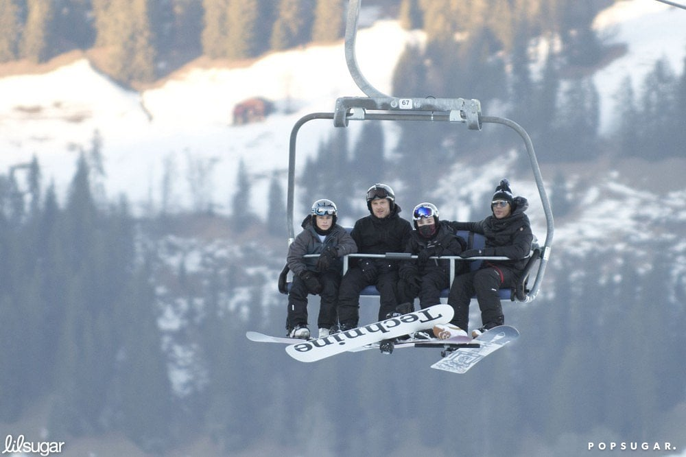 Madonna relaxed on the ski lift in Gstaad, Germany, with Rocco Ritchie and friends.