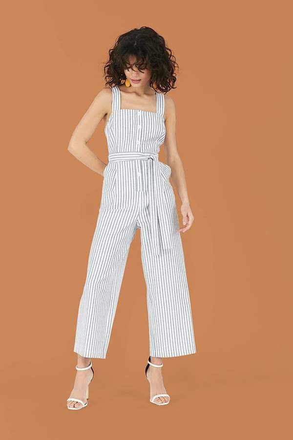 Forever 21 Striped Button-Front Jumpsuit