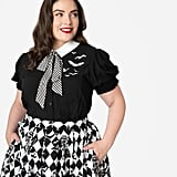 Hell Bunny Plus-Size 1950s Style Black and White Stripe Bow Tie Trixie Blouse