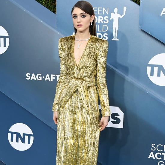 Natalia Dyer Gold Saint Laurent Dress at the SAG Awards