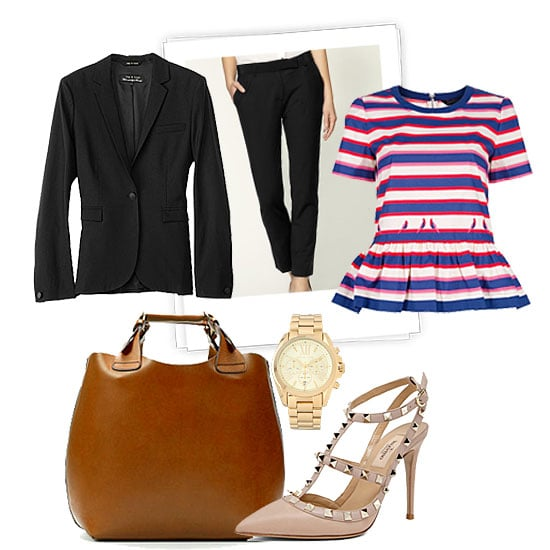 If you're interviewing in the corporate space, it's best to keep it classic and professional with a suit. But don't let that stop you from injecting a little personality with accessories and a feminine top. Don't go overboard, but a peplum top feels perfectly poised – and on-trend for Spring.  Rag & Bone Classic Blazer ($450), Elizabeth and James Milo Cropped Pant ($285), Marc by Marc Jacobs Striped Peplum Top ($324), Michael Kors Bradshaw Gold Chronograph Watch ($250), Valentino Rockstud Sling Back T.100 in Poudre ($895), Zara Plaited Leather Shopper ($149)