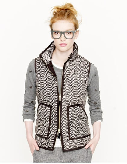 We envision this J.Crew excursion quilted vest in herringbone ($138) to be the ideal complement for your preppiest (and quirkiest) knit sweaters. Fair Isle, intarsia, or super-embellished, it's all fair game.