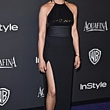 At the 2015 Golden Globes, Jennifer wore a stunning halter-neck Saint Laurent dress that featured a thigh-high slit.