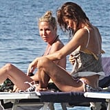 Helena Christensen with a friend in Italy.