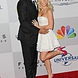 Kendra Wilkinson and Hank Baskett posed on the NBC post-Golden Globes party red carpet.