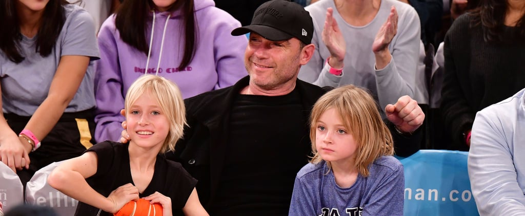 Liev Schreiber and His Sons at Basketball Game in NYC 2017