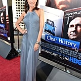 Perrey Reeves wore a gray frock.