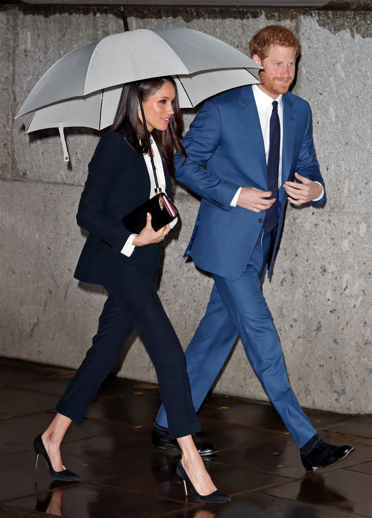 Meghan arrived at the Endeavour Fund Awards twinning with her fiancé in a sleek black pantsuit by Alexander McQueen. The two looked like the ultimate power couple!
