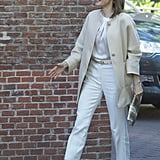 She Accented the Breezy Yet Polished Look With a Metallic Belt and Clutch