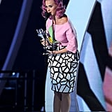 Katy Perry wore a yellow cube atop her head as she accepted the award for video of the year.