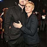 Justin Timberlake and Ellen DeGeneres, who sat next to each other in the audience, got together backstage after their wins.
