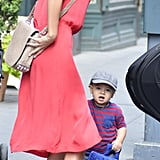 Miranda Kerr walked with Flynn in NYC.