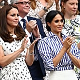 Meghan and Kate Middleton showed up to one of Serena's Wimbledon matches in July to cheer her on.