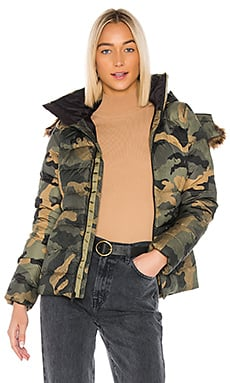 The North Face Gotham Jacket II With Faux Fur Trim in Burnt Olive Green Waxed
