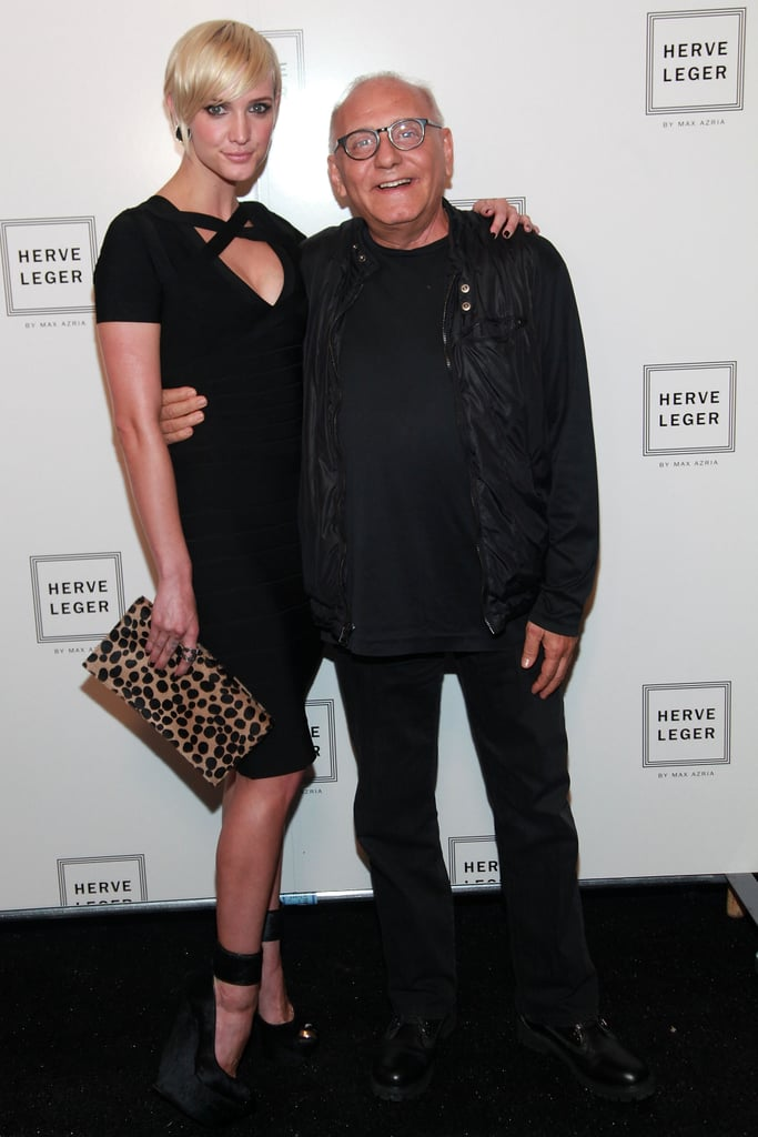 Ashlee Simpson had her arm around Max Azria at Hervé Léger by Max Azria in September 2011.