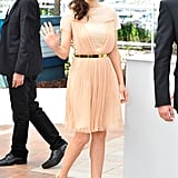 Marion Cotillard waved at the Cannes Film Festival.