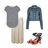 Play with a metallic skirt by adding cool pops of color and print. A staple stripe tee helps to pare down the shimmer, while a pair of colorblocked sandals add interest and play perfectly to the season's trends. Top it all off with a denim jacket for a pulled-together style you could wear easily day to night.  Topshop Metallic Pleat Calf Skirt ($56), Reiss Soren Oversize Stripe T-Shirt ($95), Topshop Moto Vintage Denim Jacket ($80), Pierre Hardy Canvas and Leather Platform Sandals ($609)