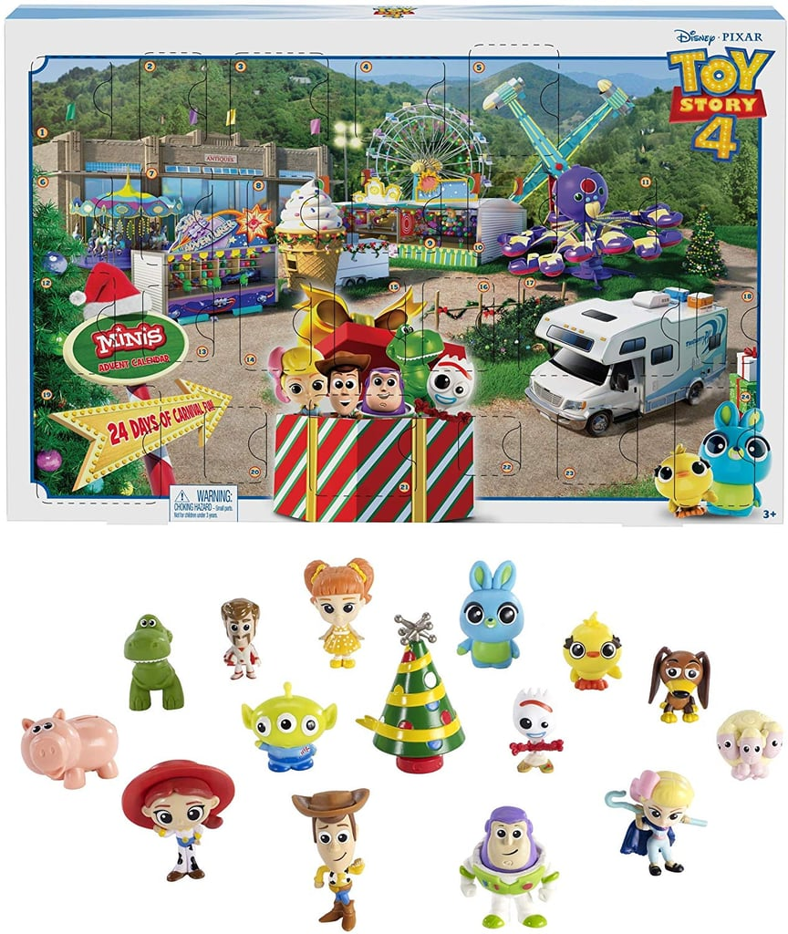 Calling all Woody and Buzz Lightyear fans! Amazon is officially selling a Toy Story 4 Advent calendar that your kids are going to go absolutely bonkers for. The eye-catching Disney Toy Story 4 Movie Advent Calendar is designed for little ones 3 and up, and comes with a slew of mini figurines — a sure hit with young fans — as well as stickers and a surprise gift hidden behind box 24. There's nothing like a special surprise on Christmas Eve, right?! Although the shipping is a little steep (right now it's listed at $12), it will be well worth it for any parent who's been watching Toy Story 4 on a loop lately. Keep reading to get a look at this adorable Advent calendar, which honors the latest flick in the franchise and obviously includes new characters, like Forky!      Related:                                                                                                           This Girl's First Day of Preschool Was Marked With a Toy Story Photo, and Oh, How Sweet!