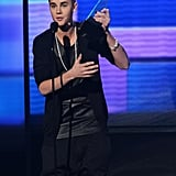 Justn Beiber spoke on stage in LA.