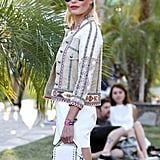 Source: Getty An embellished jacket is the perfect piece to embrace the festival vibes; the more detail and embroidery the better! When sporting an item like this, scale back on accessories; let the jacket do the talking!