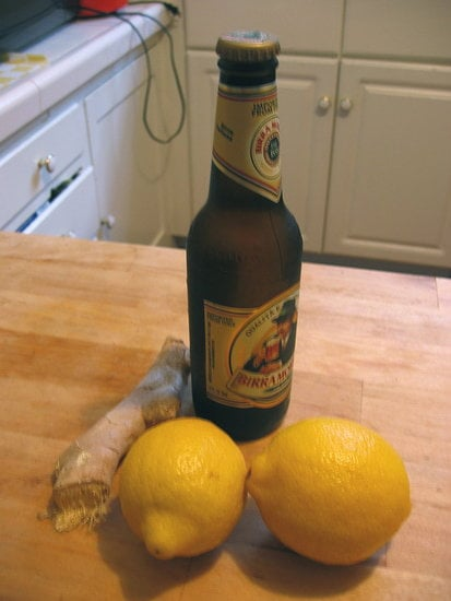 Ginger, pilsner-style beer, and lemons