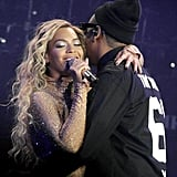 Beyonce and Jay Z got intimate on stage during the couple's big week in London.
