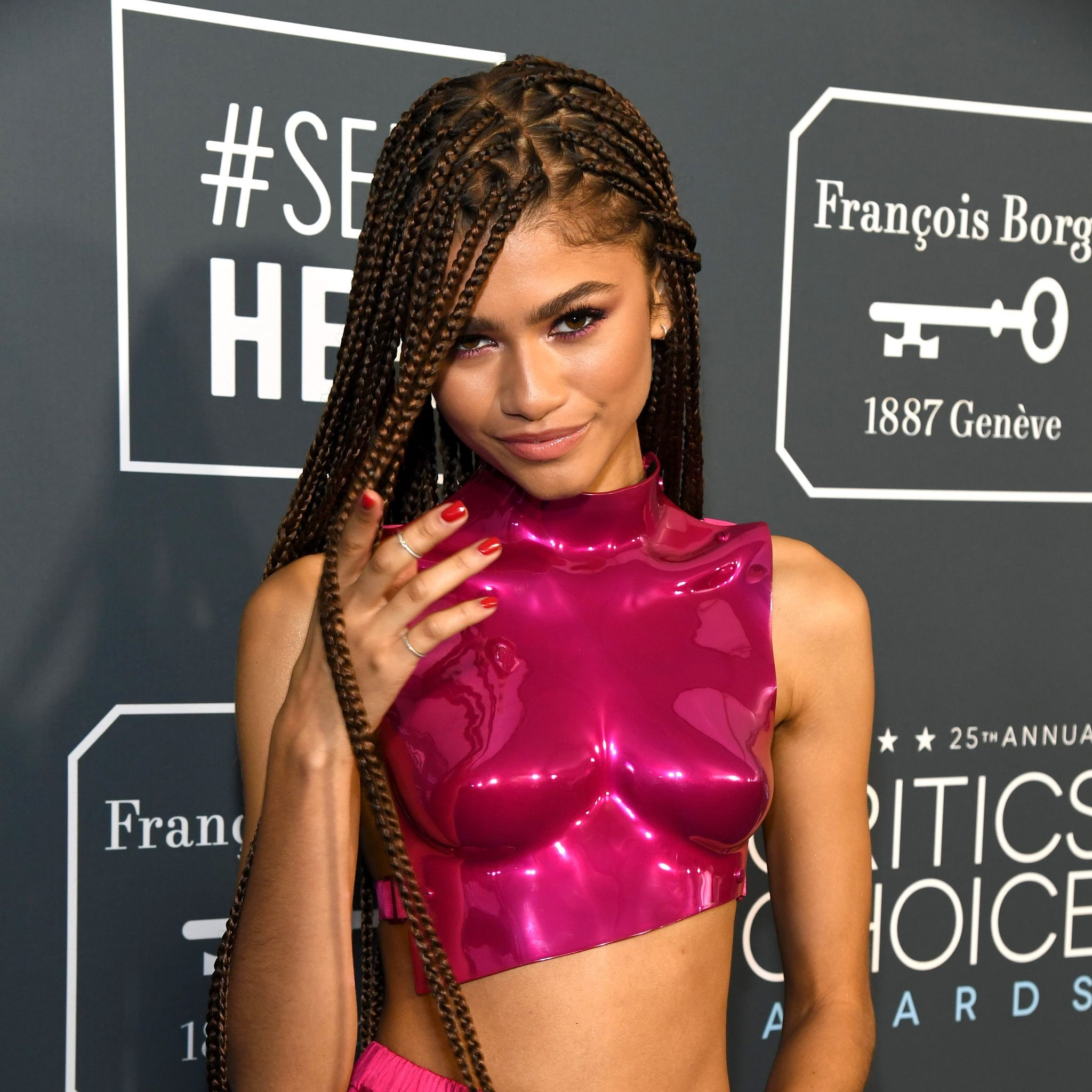 Zendaya S Extralong Braids At The Critics Choice Awards Popsugar Beauty