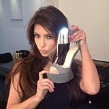 Kim Kardashian happily snapped a photo with a sexy pair of Giuseppe Zanotti heels. Source: Instagram user kimkardashian