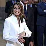 Princess Letizia showed off her engagement ring alongside Prince Felipe in November 2003.