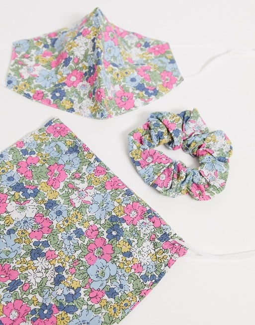 ASOS Design Pink Floral Face Covering With Pouch and Scrunchie