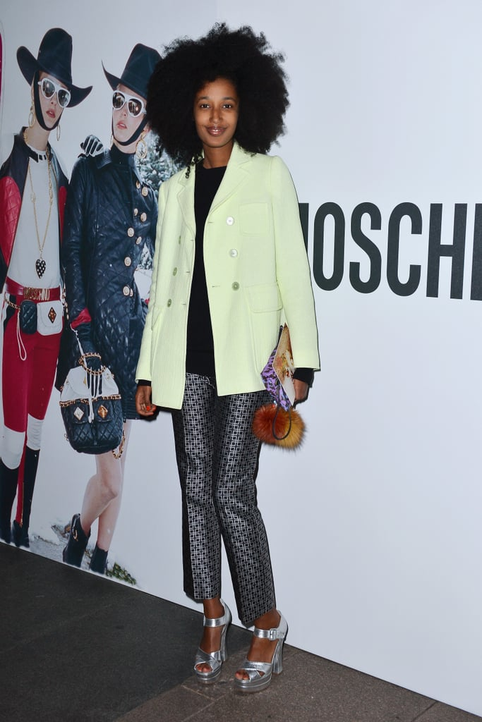 Julia Sarr-Jamois gave tailored separates an attention-getting twist in cool citrus hues and fresh metallics while out at the Juergen Teller dinner.