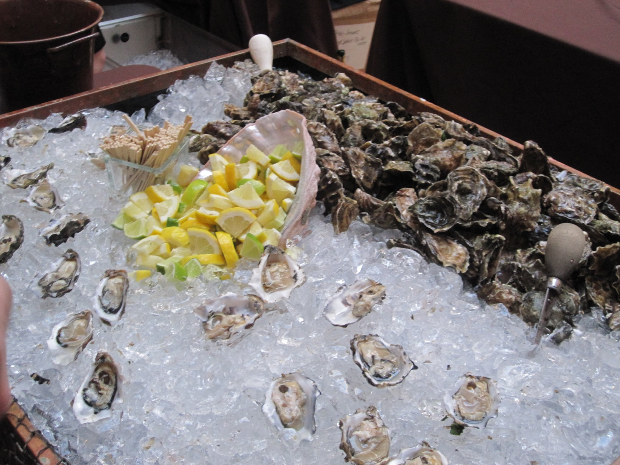 The gentlemen from Hog Island Oyster Farm said they would be shucking at least a thousand oysters throughout the evening.