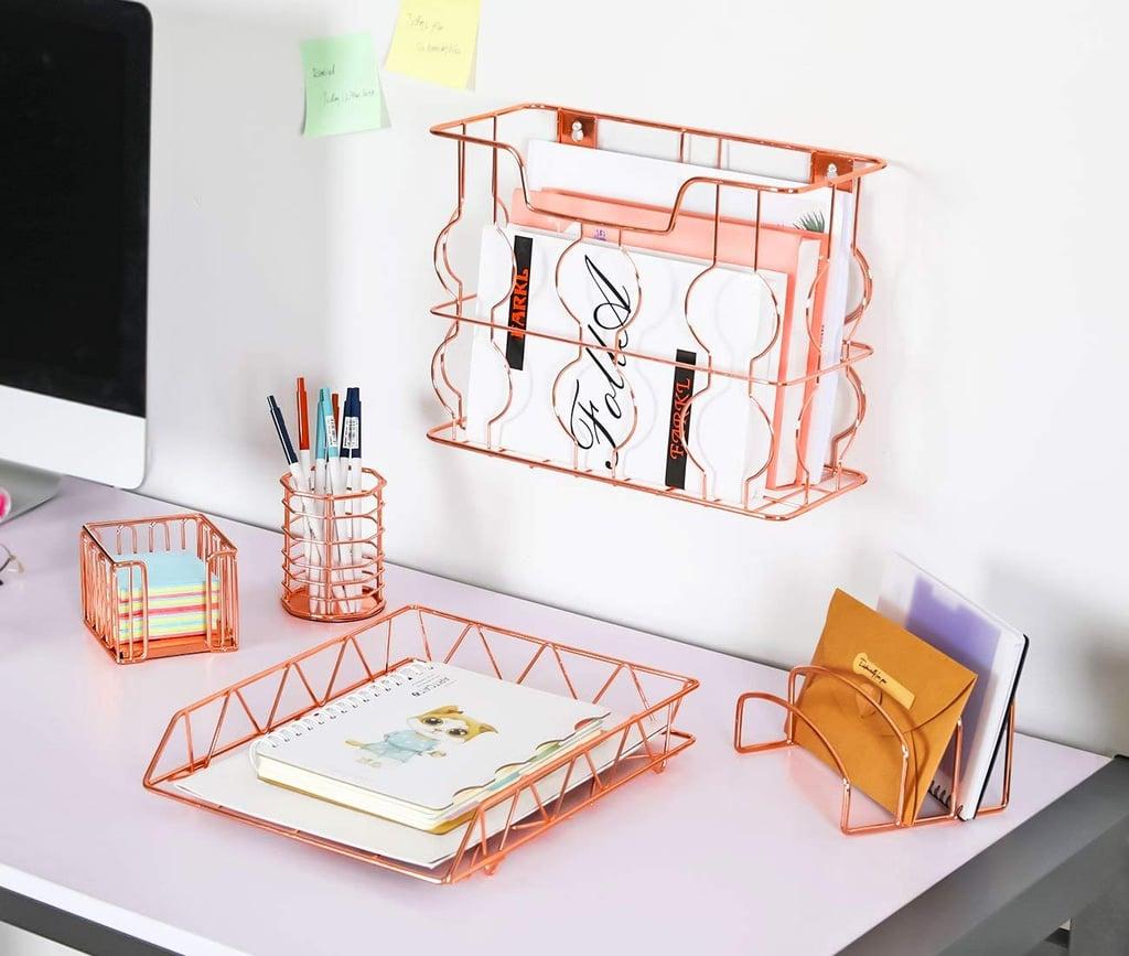 Rose Gold Office Supplies Five-in-One Metal Desk Organizer Set