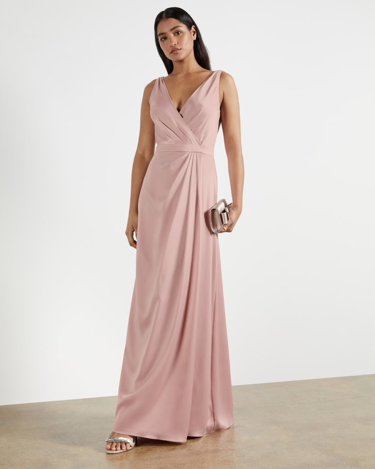 Pink Bridesmaid Dress: Ted Baker Sleeveless Wrap Gown