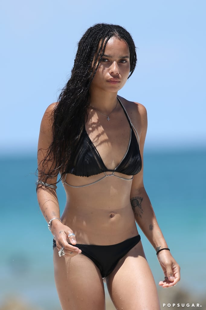 Zoë Kravitz put her bikini body on display while hitting the beach in Miami in July 2015.