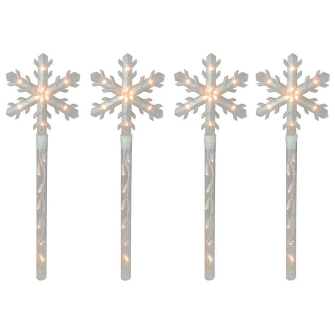 Northlight 4-Marker White Snowflake Christmas Pathway Markers Lowes.com
