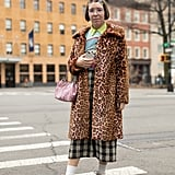 Style Your Leopard-Print Coat With: A Colorblock Top, Printed Pants, and Sneakers With Tall Socks
