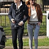Kate Moss and Jamie Hince took advantage of the sunny afternoon with a midday stroll.