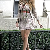 Blake slipped out of her sweat pants and showed off her long legs in a short minidress.