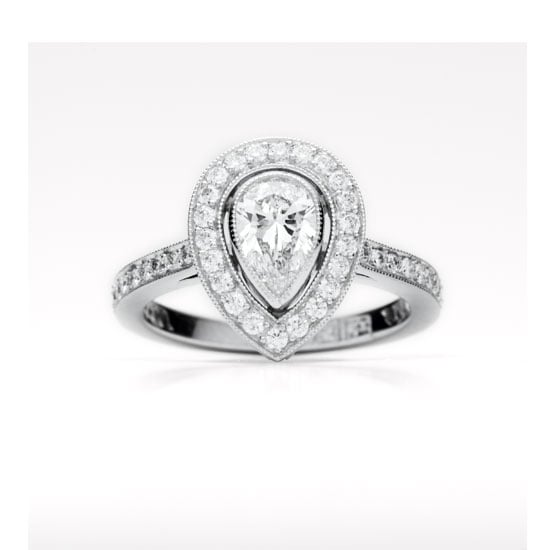 """POPSUGAR: We've all heard of the four C's, but not everyone knows what the mean. Could you explain the basics? Cassandra Mamone: The four C's refers to the diamonds characteristics which are the cut, colour, clarity and carat. Cut: While diamonds come in different shapes (like round, pear, etc.) the term """"cut"""" actually refers to the diamond's proportion. A diamond's cut determines its light reflection— its sparkle factor. When a diamond is cut to the right proportion —- neither too deep nor too shallow— the light will reflect inside the stone from one mirror-like facet to another and reappear through the top, making it sparkle from within. Colour: Grades D, E, and F are the rarest and so the most valuable on a scale that goes to Z (and yellowish). Usually about one in two people in a blind test can tell the difference between a D and an H coloured diamond; at I and lower, the majority of people can see the faint tint of yellow. Clarity: Nearly all diamonds contain tiny marks known as inclusions which make each stone unique, like a birthmark. Diamonds with no inclusions are categorised either as flawless (FL) or internally flawless (IF)— and are costly. The inclusions don't necessarily weaken the stone and, as long as they don't interfere with the passage of light, they won't affect its beauty either. Carat: A diamond's size is measured in carat weight, and one carat is equal to 0.20 of a gram (or one-fifth). Each carat is divided into 100 points, so a diamond of 50 points weighs 0.50 carats. Pictured: Platinum and pear cut diamond ring, price on request, Fairfax & Roberts, stockists: (02) 9232 8510"""