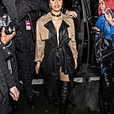 Wearing Alexander Wang to the brand's runway show, where she sat next to Anna Wintour.