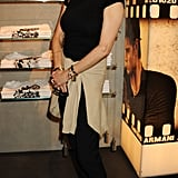 Marie Helvin checked out the Armani party.