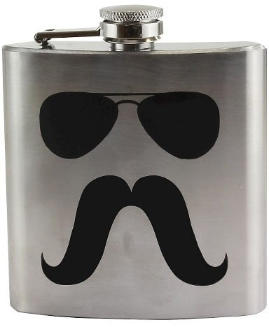 Sunglasses and Mustache Flask