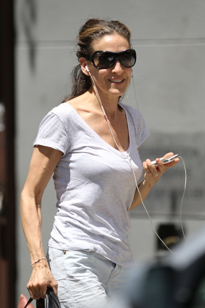 Sarah Jessica Parker had her headphones in as she walked around NYC.