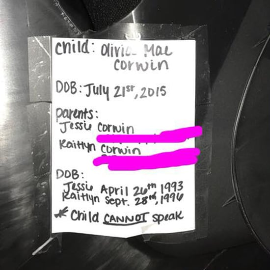 Child's Information on Car Seat Label in Case of Emergency