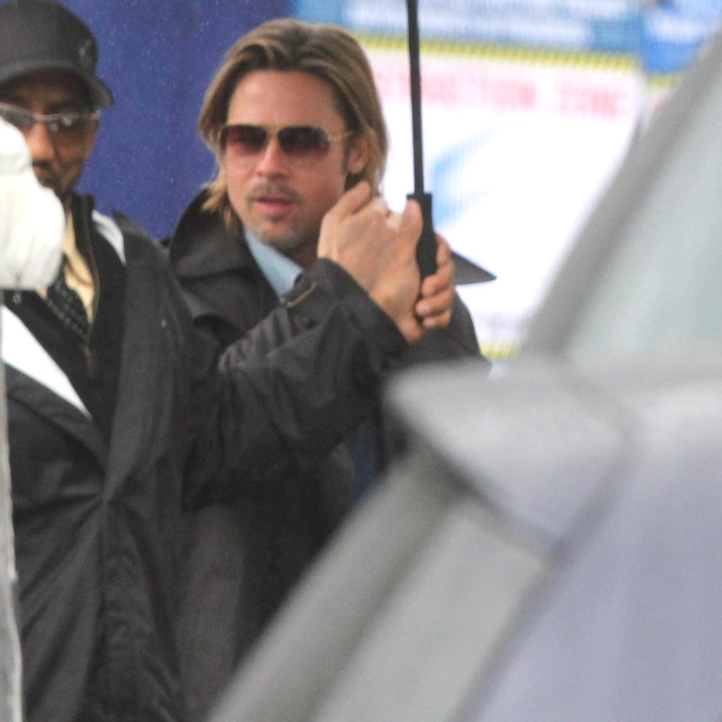 "Brad Pitt had help with his umbrella yesterday at the Beverly Hills Hotel in LA. He was there for a very early morning meeting around the time that he found out about his Oscar nomination in the best actor category for his role in Moneyball! There was more great news in store for Brad because two of his films, Moneyball and The Tree of Life, are up for best picture as well. This means we have yet another Brad and Angelina red-carpet sighting to look forward to when they attend the ceremony on Feb. 26. In response to the great news from the Academy, Brad said, ""This is an extraordinary honor. I am dizzy with joy . . . and caffeine. Considering both films, Moneyball and The Tree of Life, nearly didn't make it to the screen, this is especially sweet . . . My congratulations to all the nominees — pancakes for everyone."" Also, find out how other stars reacted to their Oscar nominations."