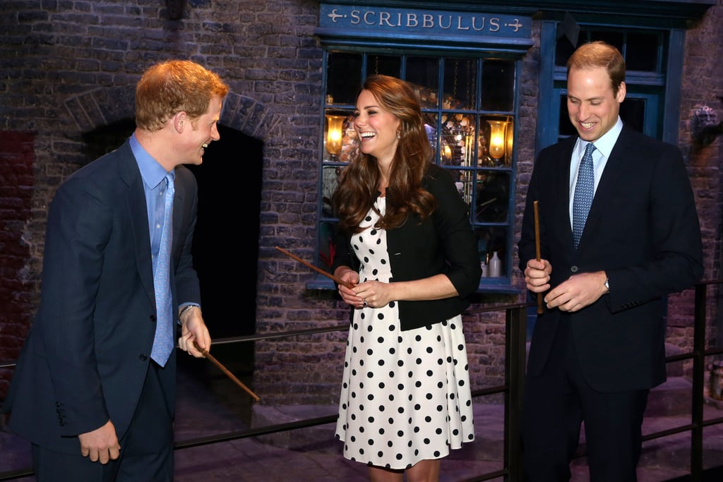 Prince Harry and Kate could barely keep it together as they channeled their inner wizards with Prince William at the Harry Potter set in April 2013.